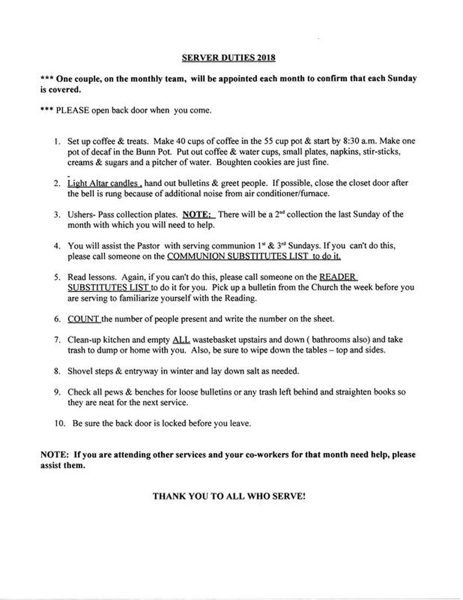 duties of a church usher church usher duties checklist